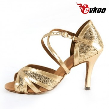 Free Shipping Most Comfortable Gold New Style Salsa Ballroom Dance Shoes 5 / 6 / 7 / 8 cm Heel Latin Dance Shoes Women Evkoo-267