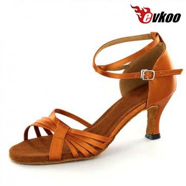 Evkoodance Brand Woman Latin Salsa Dance Shoes 7cm Heel Handmade Factory Low Price Shoes Evkoo-271