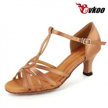 Blue Khaki Satin Latin Salsa Dance Shoes For Ladies 6 cm Or 8cm Heel For Choose Free Shipping Shoes Evkoo-270