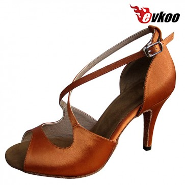 Evkoo Dance Satin Dark Tan Latin Salsa Woman Dance Shoes 8.5cm High Heel Can Be Customize Evkoo-155