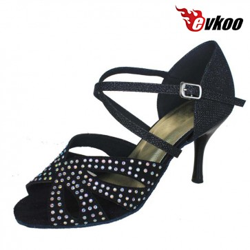 Latin Dance Shoes For Ladies Satin With Diamond Salsa Dance Shoes 8.5cm Heel Black Tan Color Evkoo-275