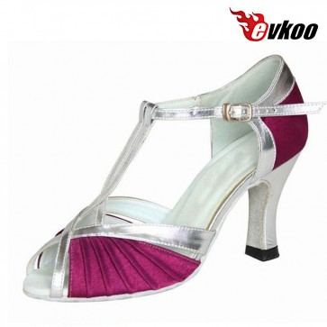 Evkoo Dance Brand Satin Or Three Different Color For Choose Mixed Long Strap Woman Salsa Latin Dance Shoes Evkoo-277