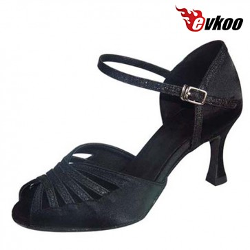 Free Shipping Evkoodance Brand Black Red Latin Dance Shoes For Ladies Satin With Glitter Salsa Dance Shoes Evkoo-279