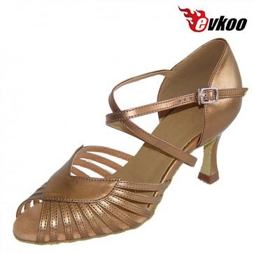 Golden Sliver 7cm Heel X-strap High Quality Salsa Women Shoes New Design Salsa Dance Shoes Evkoo-281