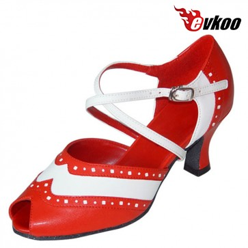 Genuine Leather 6cm Heel High Quality Salsa Shoes Dance Woman X-strap Design Evkoo-288