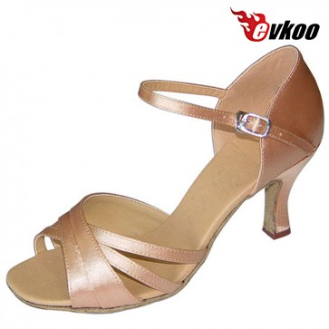 Evkoo Dance Black Khaki Leopard Woman Dance Shoes 7cm Satin Soft Sole Latin Shoes Evkoo-095