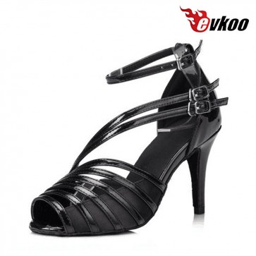 Evkoo Black Salsa Dance Shoes For Women Satin With Pu Material New Style Hot Sale Evkoo-406