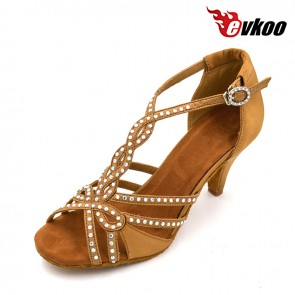 Satin material 8cm heel latin ballroom dance shoes for ladies
