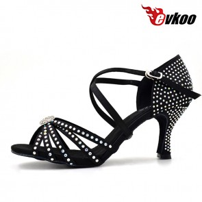 Satin plus diamond material special design middle heel dance shoes for ladies