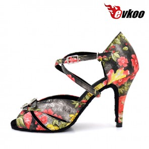 Print with crystal high thin heel woman latin ballroom dance shoes