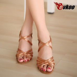 Satin  black  tan khaki latin dance shoes  heel can be customize woman ballroom shoes