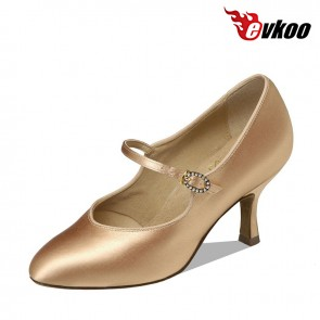 Elegant satin with crystal material woman Latin ballroom dance shoes