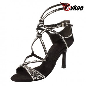Satin+crystal latin/ballroom dance shoes for woman with high heel
