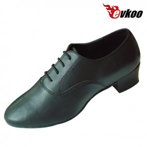 Man's genuine leather soft sole material dance shoes low heel Latin modern ballroom shoes