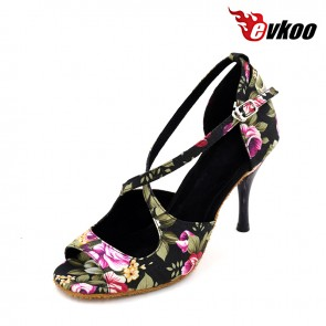 New style cotton print latin/ballroom dance shoes with high heel for ladies