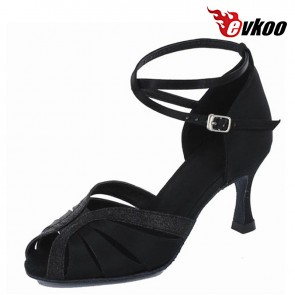 Hot Sale Woman Latin Dance Shoes 7.3cm Heel Black Khaki Satin With Glitter New Style Salsa Dancing Shoes Evkoo-278