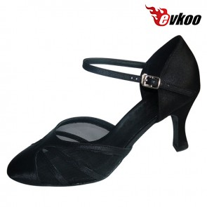 Black Satin Material Woman Modern Ballroom Dance Shoes With Sexy Mesh High Quality Shoes