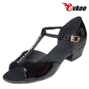 Evkoo Dance Black Patent Leather And Diamond Latin Dance Shoes For Girls 2016 New Style Evkoo-111
