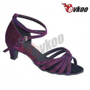 Girls latin/ballroom dance shoes with comfortable sole and mid heel