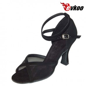 2016 Cheap Latin Shoes Women Free Shipping Evkoodance Nubuck Black Golden Pu And Satin Tan 7cm Salsa Latin Shoes Evkoo-133
