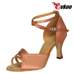 7cm Heel Red Tan Khaki Woman Salsa Shoes Sale Leather Sole Comfortable Material Dance Shoes Evkoo-224