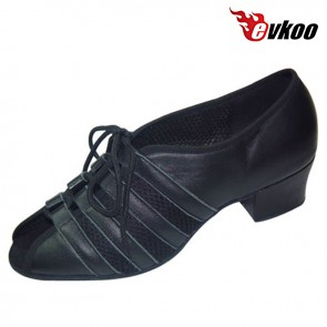 Black Practice Dance Shoes For Ladies Soft Material Salsa Shoes High Quality Free Shipping 4 Cm Heel Evkoo-236