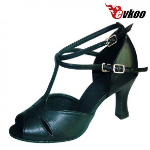 Black Imitate Leather Woman Dancing Shoes Latin Shoes Hot Sale 7cm Heel High Quality Free Shipping Evkoo-238