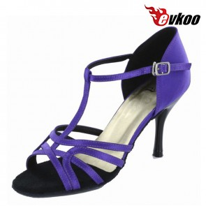 8.5 cm High Double Heel Satin Material Purple Woman Salsa Latin Shoes Woman Bright Point Shoes evkoo-241
