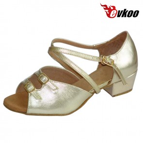 Evkoodance Girls Latin Dance Shoes 3 cm Low Heel Golden Sliver Color With Buckle High Quality Evkoo-253