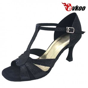 7.3 cm Black Shiny High Quality Woman Latin Dance Shoes Hand Made Hot Sale Sexy Salsa Dance Shoes Evkoo-262