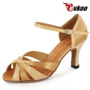 8cm Heel Satin With Glitter Latin Salsa Dance Shoes Evkoo Dance Brand Professional High Quality Dance Shoes Evkoo-268
