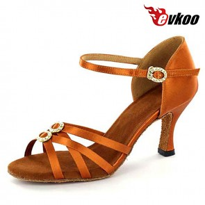 Dark Tan Satin With Crystal Buckles 7cm Heel Latin Salsa Dance Shoes For Ladies Hot Sale Shoes Evkoo-273