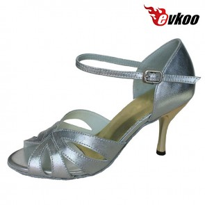 Free Shipping New Design Latin Leather Ballroom Latin Dance Shoes for Women  silver Color  Evkoo-274