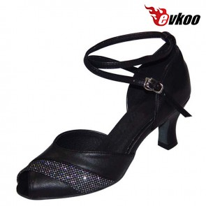 Black Golden Sliver Pu With Glitter Woman Modern Dance Shoes Open Toe High Quality 7cm Heel Shoes Evkoo-276