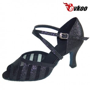 New Arrival Women Dance Shoes Latin Shiny 7cm Seel Back Khaki Color For You Evkoo-280