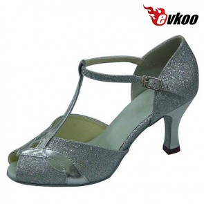 Pu With Gltter Ballroom Dancing Shoes For Women Open Toe 7cm Heel Tango Ballroom Shoes Free Shipping Evkoo-283