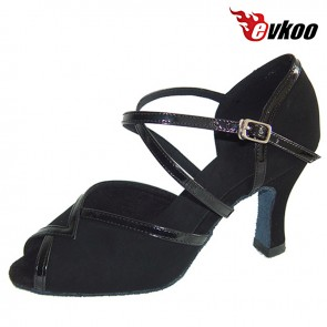 High Quality Handmade Woman Pu Latin Dance Shoes Black Green Color 7cm Heel X-Strap Salsa Shoes Evkoo-284