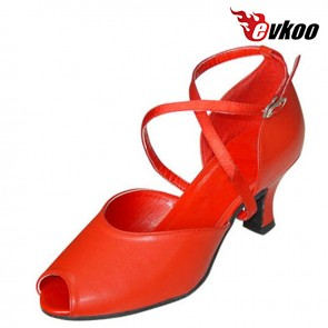 Red Patent 7cm Heel Long X-strap Woman Open Toe Ballroom Salsa Tango Latin Dance Shoes Low Heels Free Shipping Evkoo-286