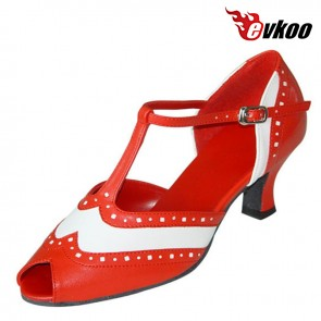 Hot Sale High Quality Genuine Leather Woman Modern Dance Shoes 6 Cm Low Heel Salsa Dance Shoes Evkoo-287