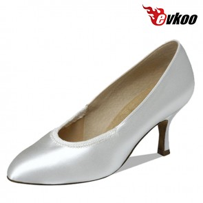 Evkoo Dance Satin Or Pu Material 7cm Heel Woman Silver Ballroom Dance Shoes No Strap For Conveniente Evkoo-085
