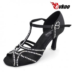 Satin with diamond sexy black color Latin ballroom dance shoes for ladies