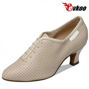 Evkoo Dance Perforated Genuine Leather Ballroom Dance Shoes Closed Toe High Quality 6cm Heel Evkoo-087