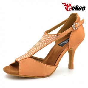 8 cm high heel woman Latin ballroom dance shoes satin with diamond