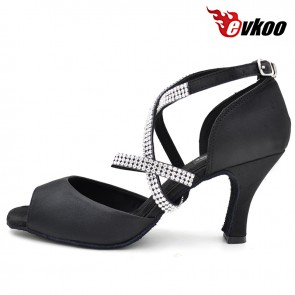 Cross strap  with diamond newest design Latin dance shoes for ladies