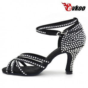 New style satin with diamond Latin dance shoes for ladies