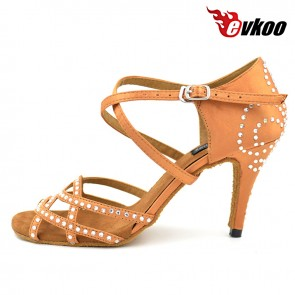 8.5cm Sexy High Heel Woman Satin Black And Brown Color Diamond Latin Dance Shoes Zapatos De Baile Salsa Latina Evkoo-067