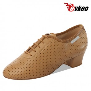 Evkoo Dance Perforated Genuine Leather Man's Latin Dance Shoes 4cm Heel Comfortable Shoes Evkoo-088