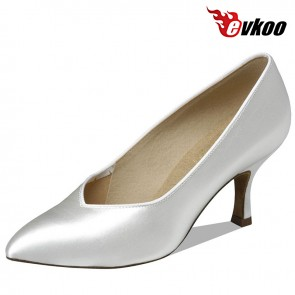 Evkoo Ballroom Latin Tango Salsa Shoes Close Toe Satin Material Evkoo-082