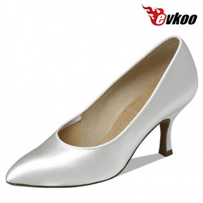 Evkoo Dance 7.3cm Satin White Color For Woman's Modern Dance Shoes Evkoo-083