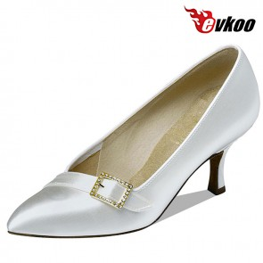 Evkoo Dance White Satin Modern Dance Shoes Conveniente Lazy Woman Shoes Without Strap 7.3Cm Heel Evkoo-086